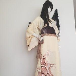 Japanese Wave Kimono, Obi, and lace scarf